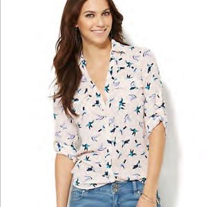 NY&Co Soho Soft Shirt Hummingbird Print Blouse